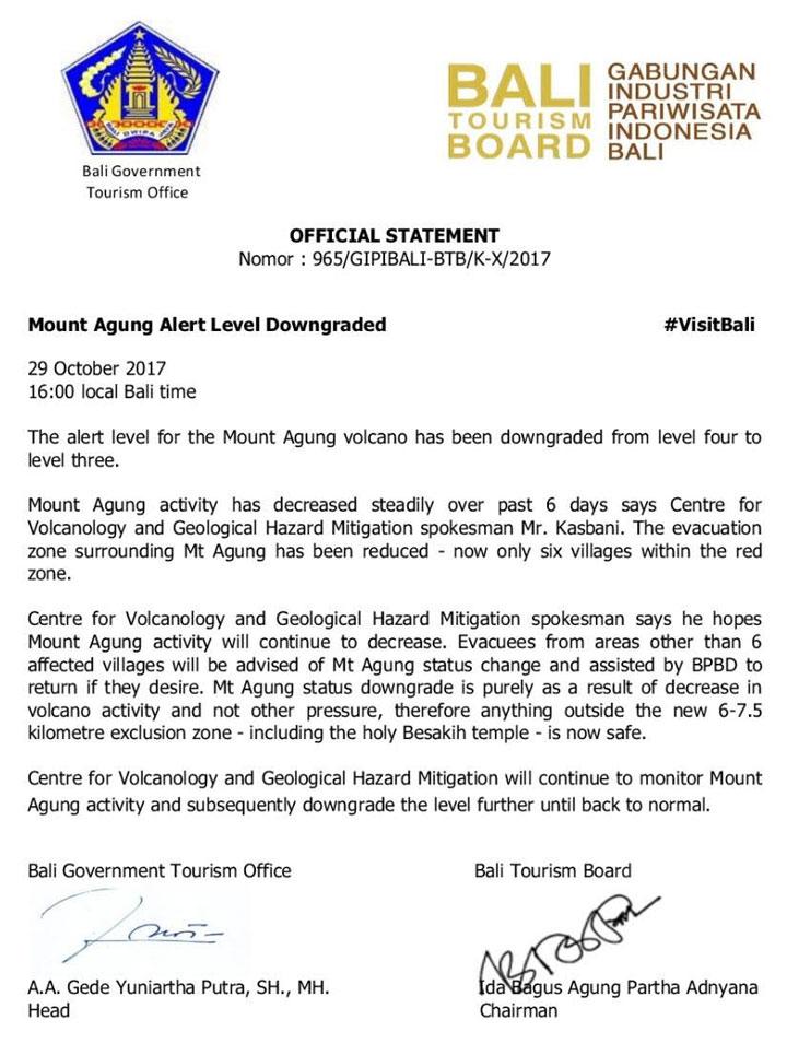 Mount Agung Alert Level Downgraded Bali Government Tourism Office Official Statement - Gunung Agung Bali
